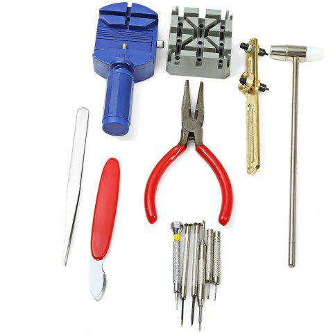 13pcs Watch Repair Kit Case Opener Link Pin Remover Hammer Plier Watchmaker - COLORMIX