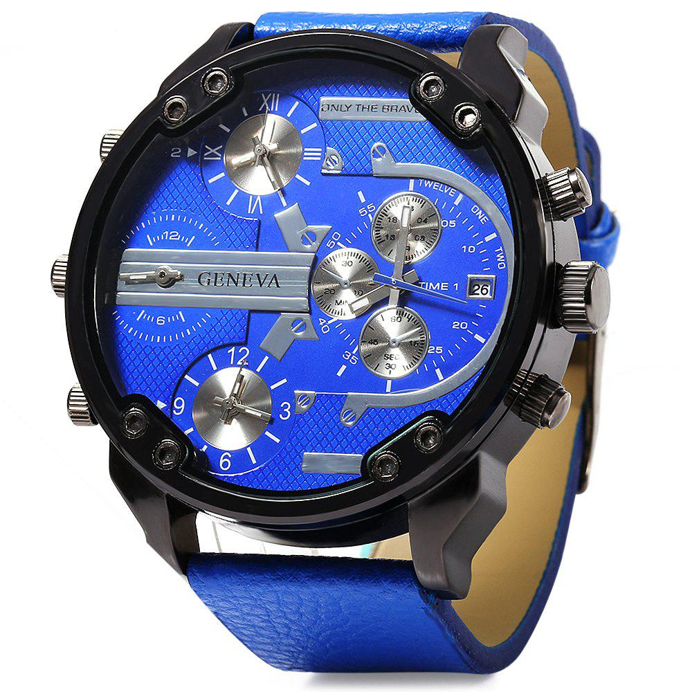 Geneva 448 Decorative Sub-dial Date Function Leather Band Multi-movt Male Quartz Watch - BLUE