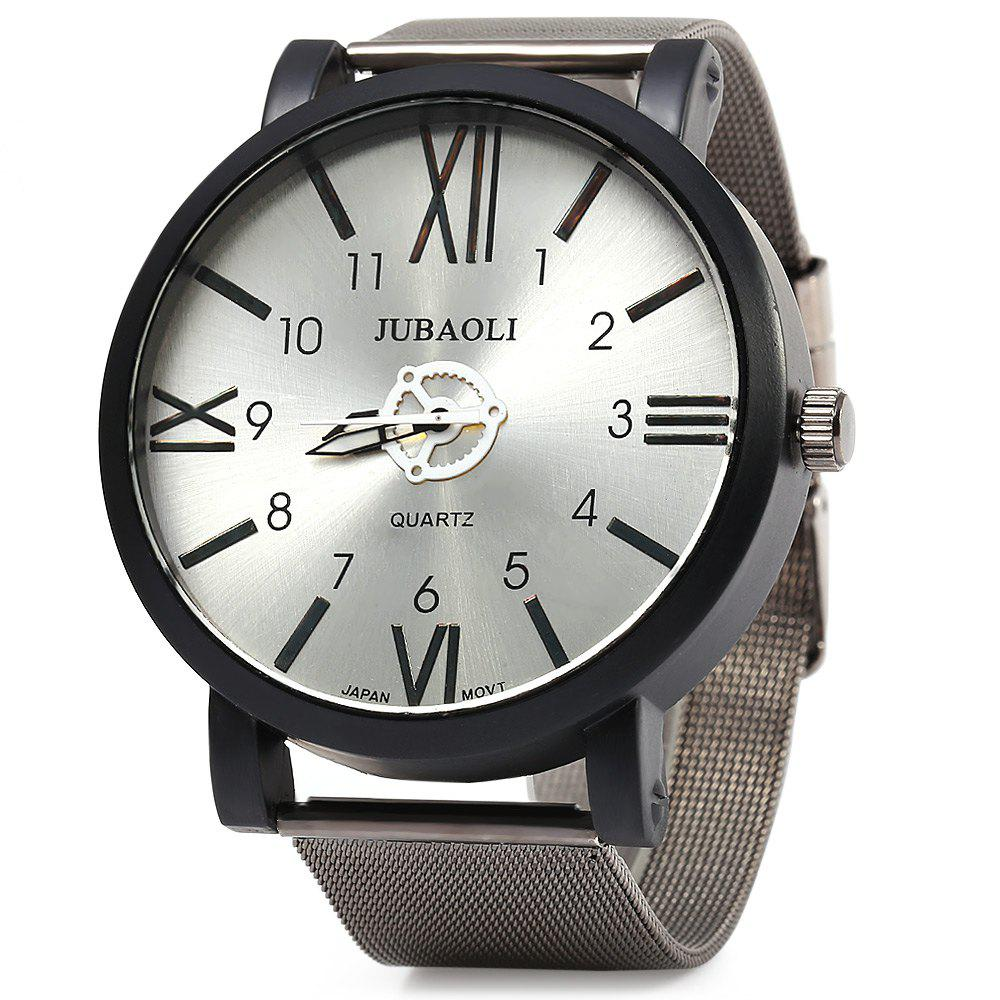 JUBAOLI 1020 Male Japan Quartz Watch Roman Number + Arabic number Scales Steel Net Band - WHITE