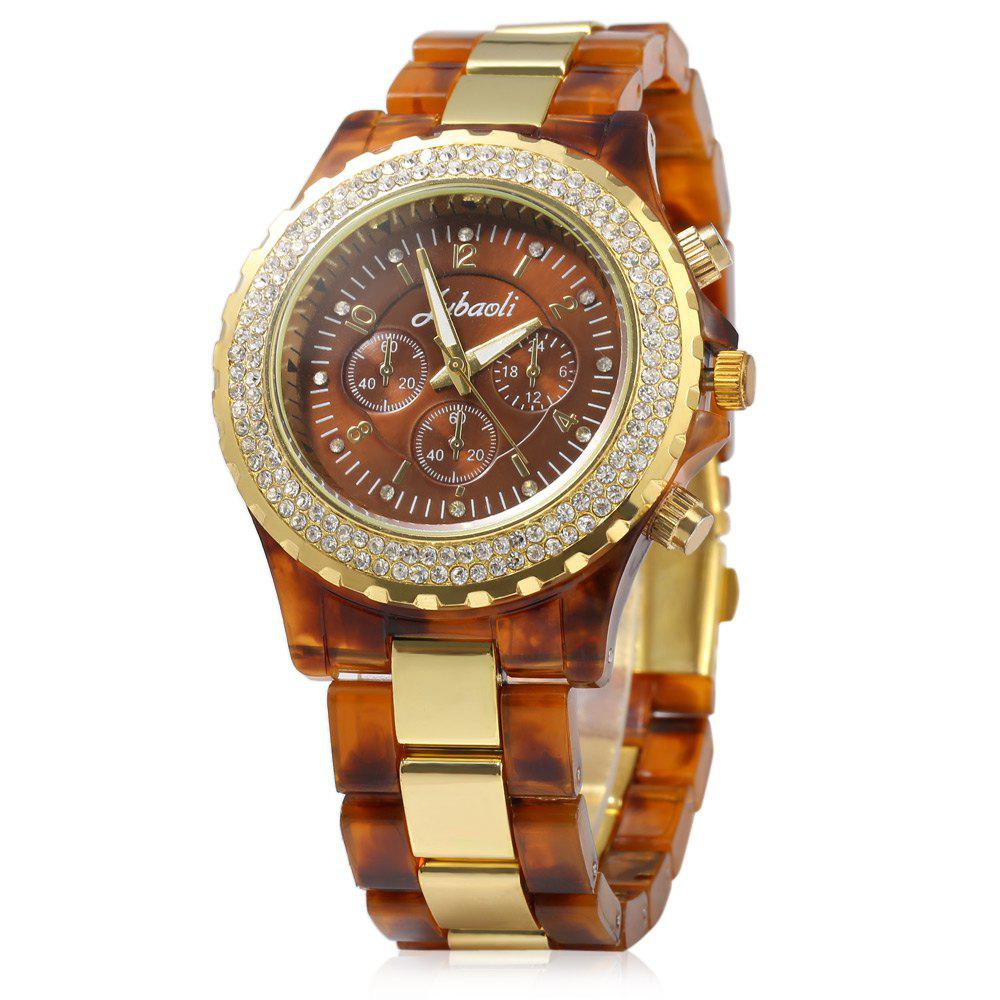 JUBAOLI 1066 Decorative Sub-dial Diamond Decoration Stainless Steel Band Male Quartz Watch - GOLDEN