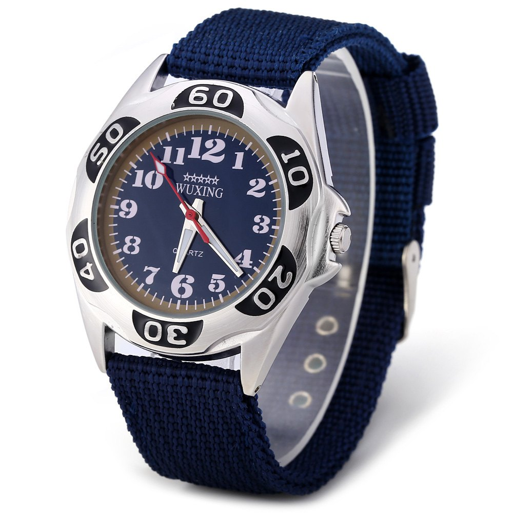 WUXING SG1272 Quartz Watch Double Scales Nylon Band for Men - BLUE