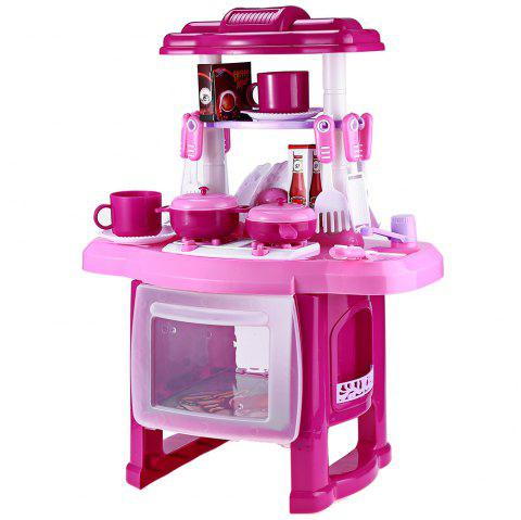 RX1800 - 1 Kids Kitchen Cooking Pretend Role Play Toy Set with Light Sound Effect - PINK