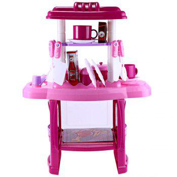 Kids Kitchen Cooking Pretend Role Play Toy Set with Light Sound Effect - PINK