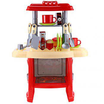 Kids Kitchen Cooking Pretend Role Play Toy Set with Light Sound Effect - ROSE