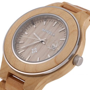 Bewell 100A Zebrano Band Japan Quartz Watch Nail Scale Date Function for Men - LIGHT BROWN