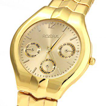 Rosra 909 couple quartz watch round dial stainless steel band decorative sub dial golden in for Rosra watches
