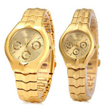 ROSRA 909 Couple Quartz Watch Round Dial Stainless Steel Band Decorative Sub-dial