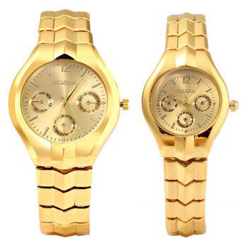 ROSRA 909 Couple Quartz Watch Round Dial Stainless Steel Band Decorative Sub-dial -  GOLDEN