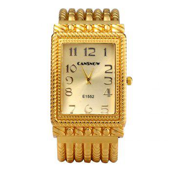 Cansnow E1552 Women Quartz Watch Golden Bracelet Diamond Square Dial - GOLDEN
