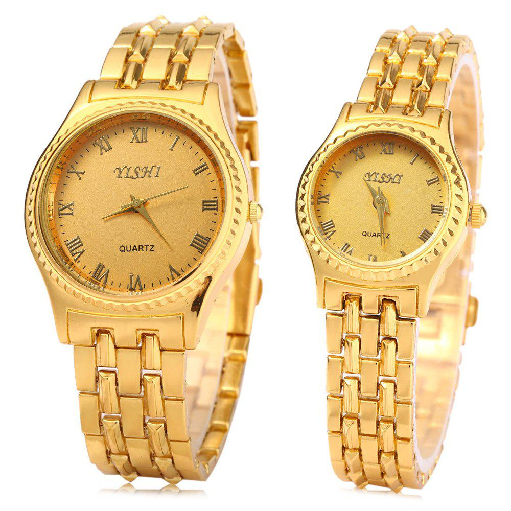 YiShi 908 Couple Quartz Watch Set Golden Roman Number Stainless Steel Watchband
