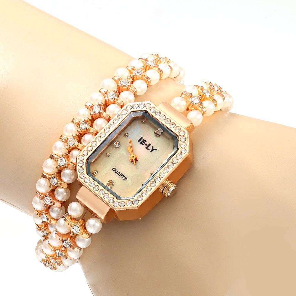 IE-LY 627 Female Diamond Quartz Watch with Pearl Band Octagon Dial Stainless Steel Wristband - ROSE GOLD