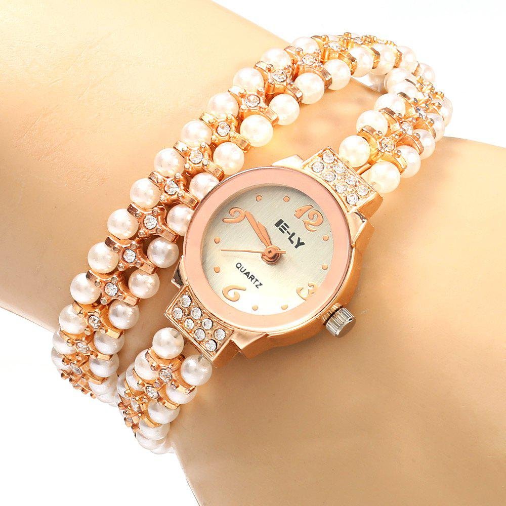 IE-LY 629 Female Diamond Quartz Watch with Pearl Band Round Dial Stainless Steel Wristband - ROSE GOLD