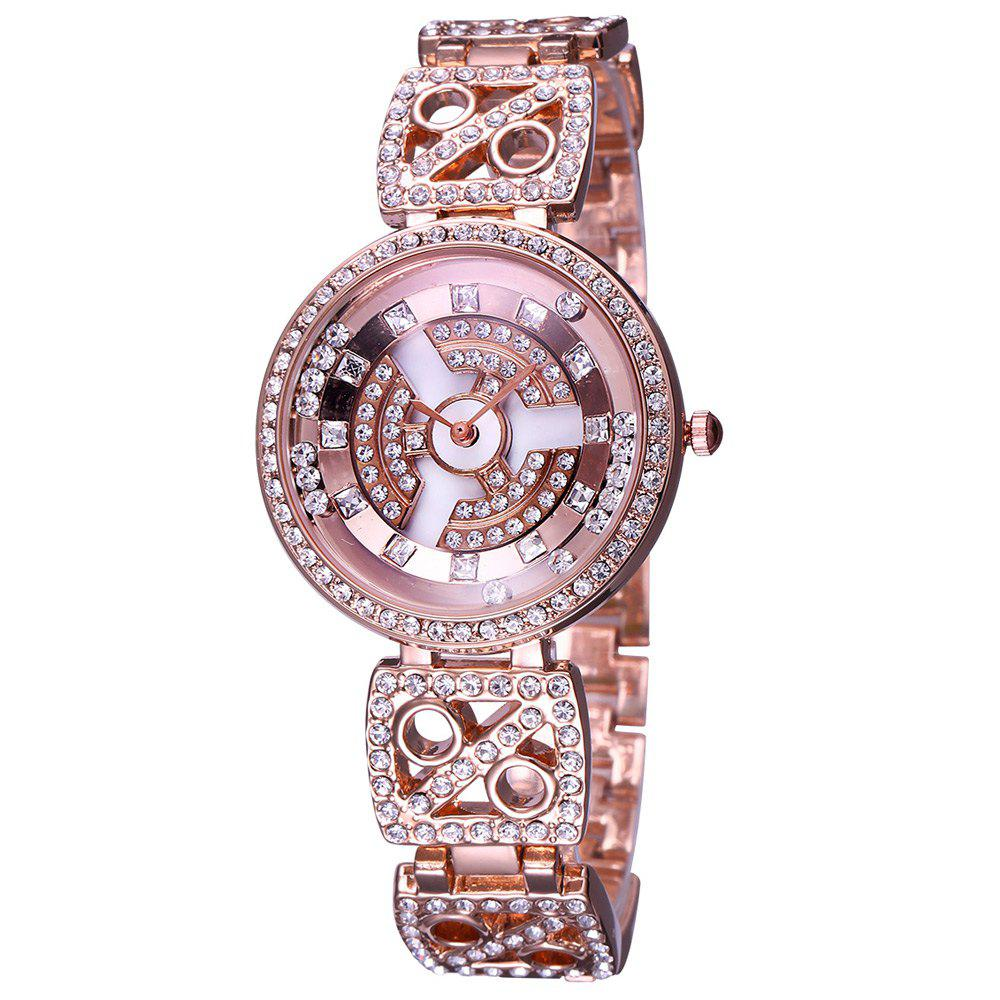 WeiQin W4755 Diamond Scale Rotatable Bezel Female Quartz Watch - ROSE GOLD