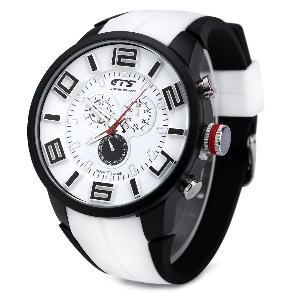 GTS 1004 Double Scales Decorative Sub-dial Male Japan Quartz Watch Silicone Band - WHITE