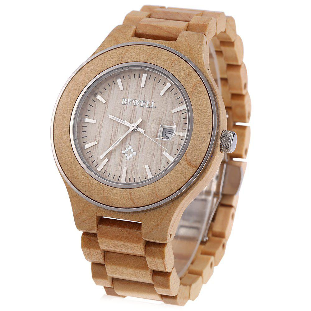 Bewell 100A Zebrano Band Japan Quartz Watch Nail Scale Date Function for Men - LIGHT BROWN MAPLE WOOD