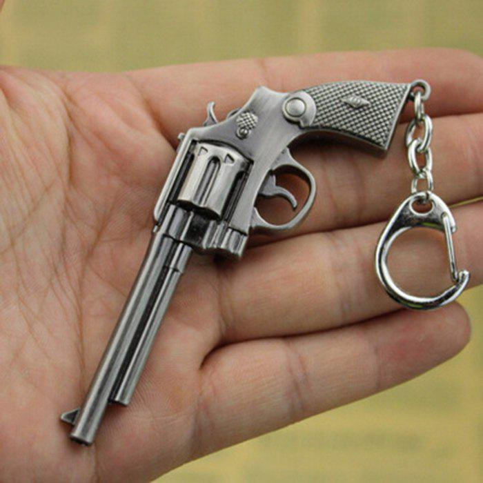 9cm Key Chain Revolver Hanging Pendant Metal Keyring for Bag Decoration - GRAY