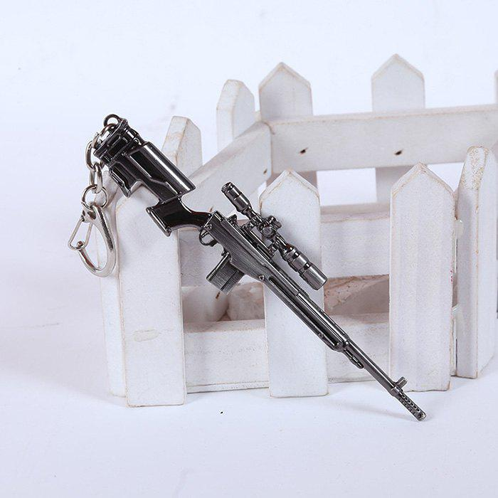 12cm Key Chain Sniping Rifle Hanging Pendant Metal Keyring for Bag Decoration - BLACK GREY SNIPING RIFLE 1