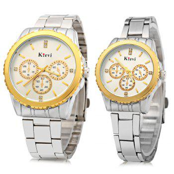 Ktevi K8001 Decorative Sub-dial Diamond Scale Couple Japan Quartz Watch