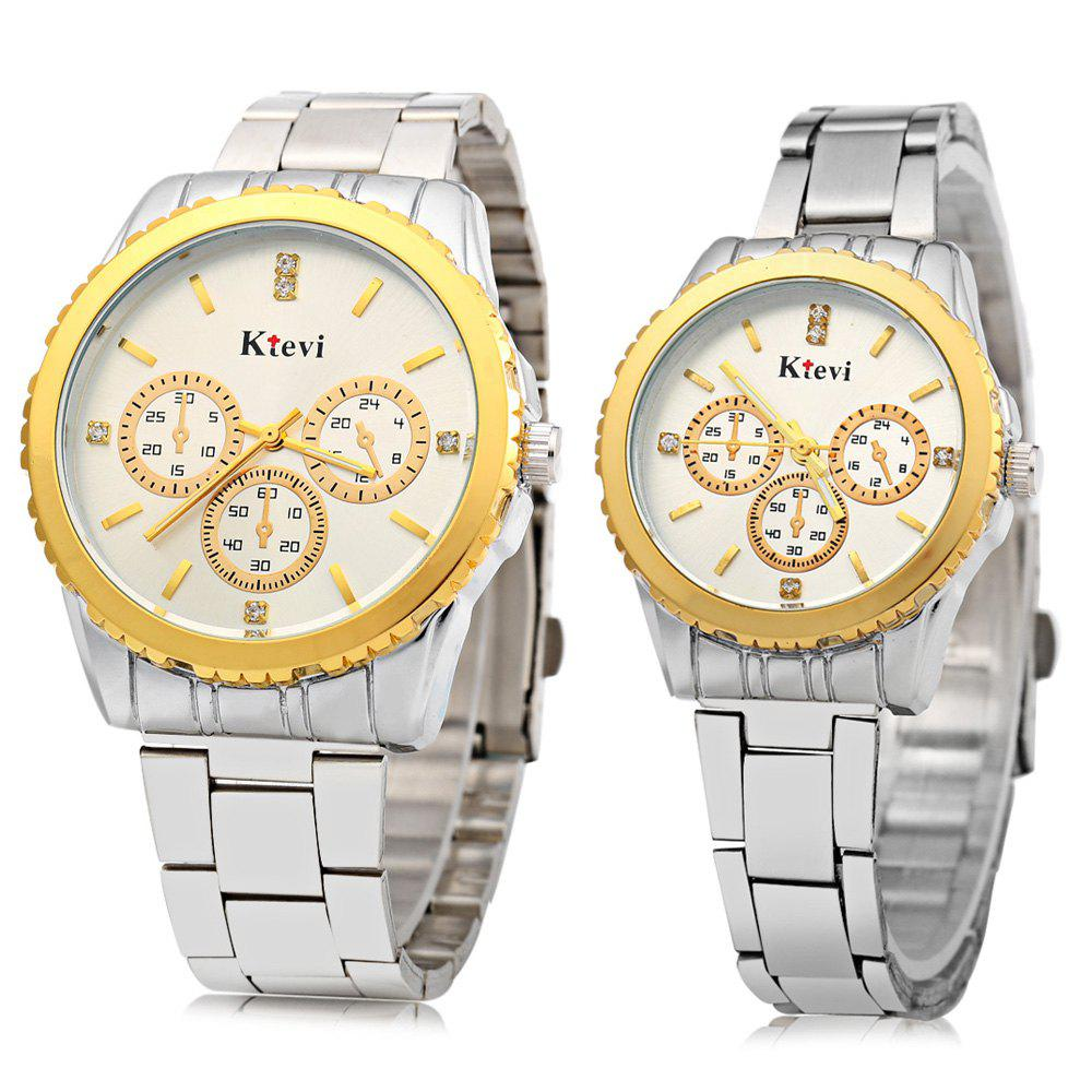 Ktevi K8001 Decorative Sub-dial Diamond Scale Couple Japan Quartz Watch - WHITE