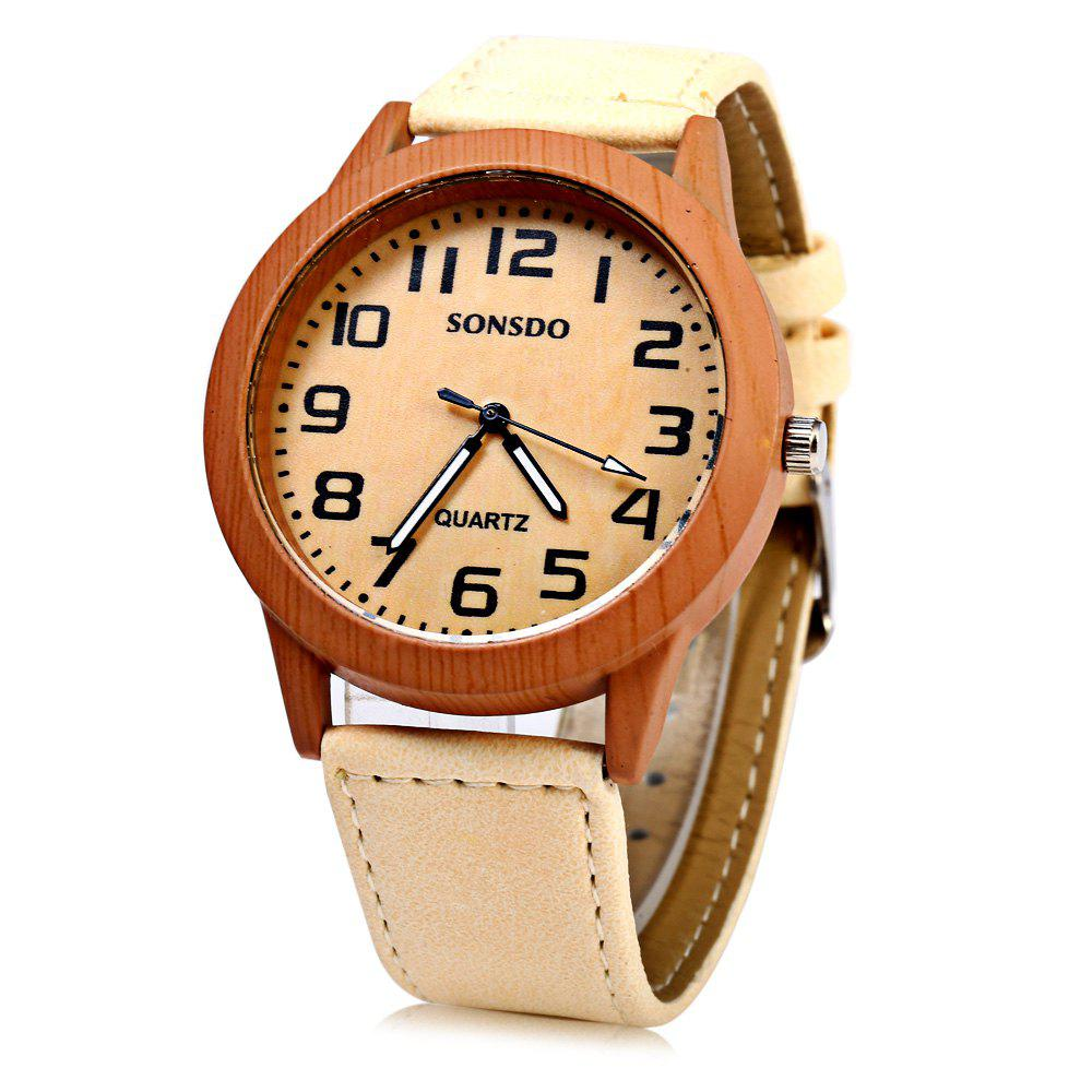 SONSDO 6635 Quartz Unisex Watch Wood Texture with Leather Band - WHITE