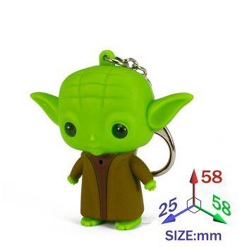ABS Master Key Chain Hanging Pendant Movie Product Voice LED Light Control Bag Decoration - GREEN