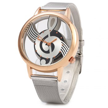 9687 Musical Note Design Transparent Dial Quartz Watch Steel Net Strap for Men
