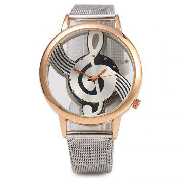 9687 Musical Note Design Transparent Dial Quartz Watch Steel Net Strap for Men - ROSE GOLD
