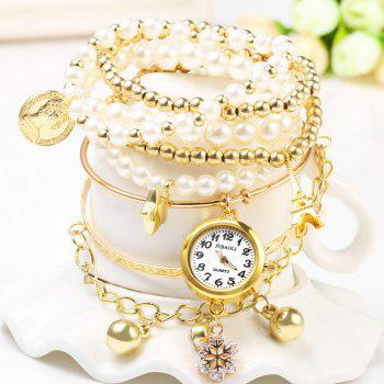 JUBAOLI 1107 Multilayer Quartz Chain Watch Snowflake Pendant Round Dial for Women