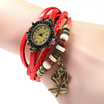 Quartz Watch with Flower Elliptical Dial and Knitting Leather Watch Band for Women