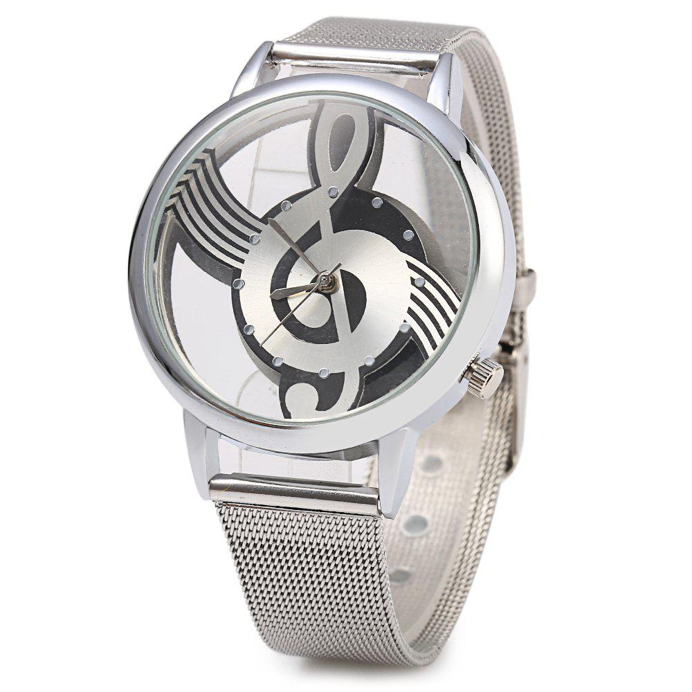 9687 Musical Note Design Transparent Dial Quartz Watch Steel Net Strap for Men - SILVER