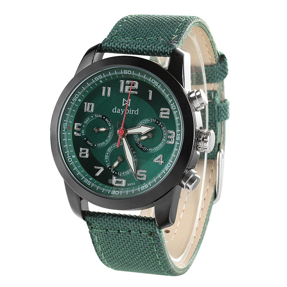 Daybird 3830 Men Quartz Watch Date Function Canvas Band Analog Wristwatch - GREEN