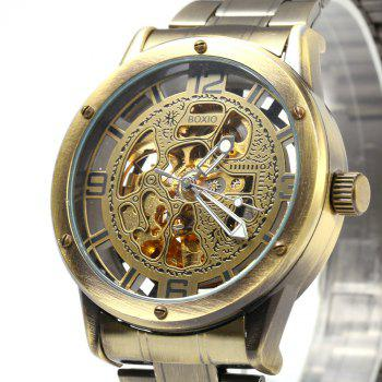 Boxio B9446 Hollow-out Dial Automatic Mechanical Movt Watch for Men - BRONZE