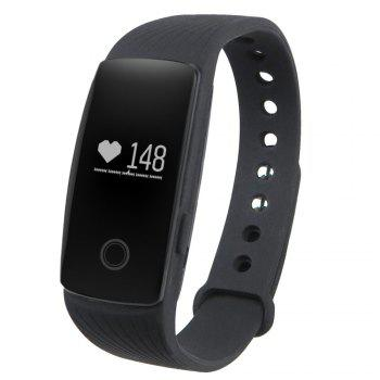 ID107 Smart Watch with Heart Rate Monitor Pedometer Remote Camera Function - BLACK BLACK