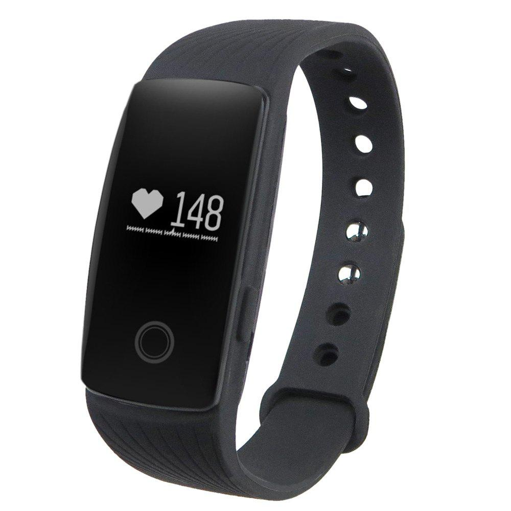 ID107 Smart Watch with Heart Rate Monitor Pedometer Remote Camera Function - BLACK