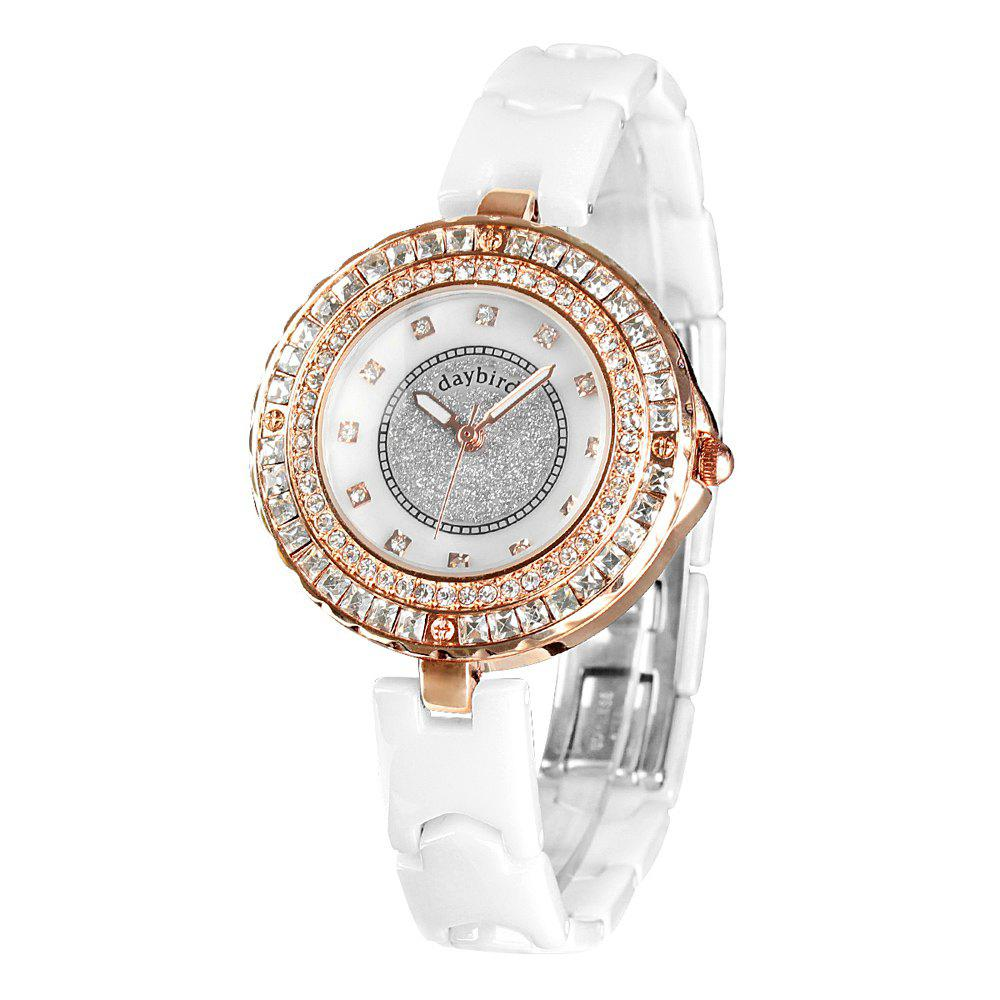Daybird 3936 Female Quartz Watch Diamond Scale Water-resistant Wristwatch - ROSE GOLD