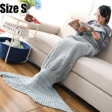 Crocheted / Knitted Mermaid Tail Style Blanket - BLUE GRAY KID