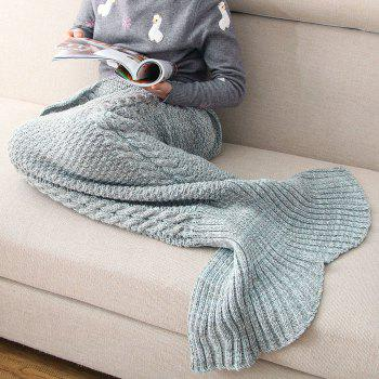 Crocheted / Knited Mermaid Tail Style Blanket -  BLUE GRAY KID