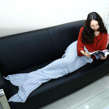 Crocheted / Knitted Mermaid Tail Style Blanket - BLUE GRAY ADULT
