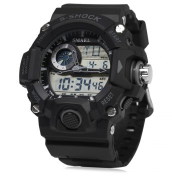 SMAEL 1385 Men Sports Digital Watch Dual Movt Calendar Chronograph
