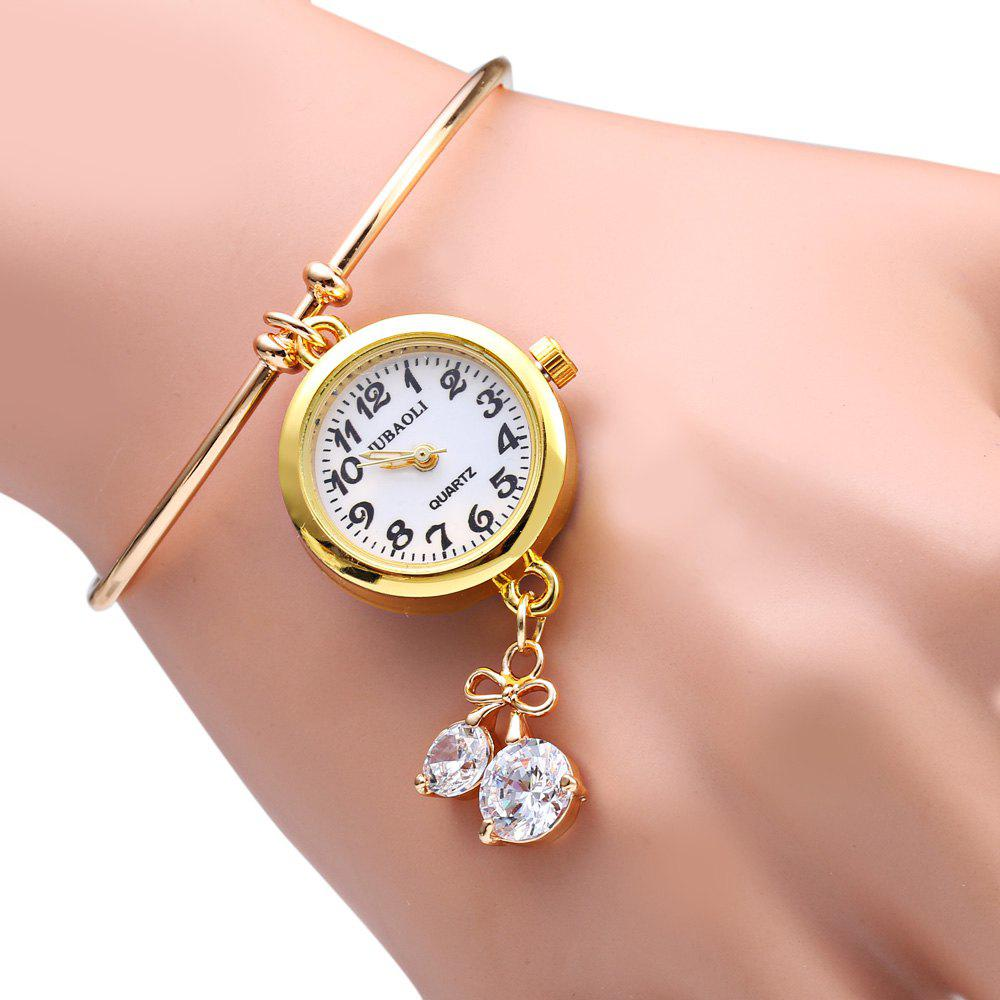 JUBAOLI 1105 Bracelet Female Quartz with Diamond Pendant Round Dial - GOLDEN