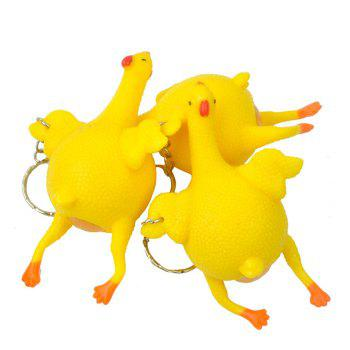 Novelty Push-egg Chicken Key Ring Interesting Air Vent Decompression Toy - YELLOW