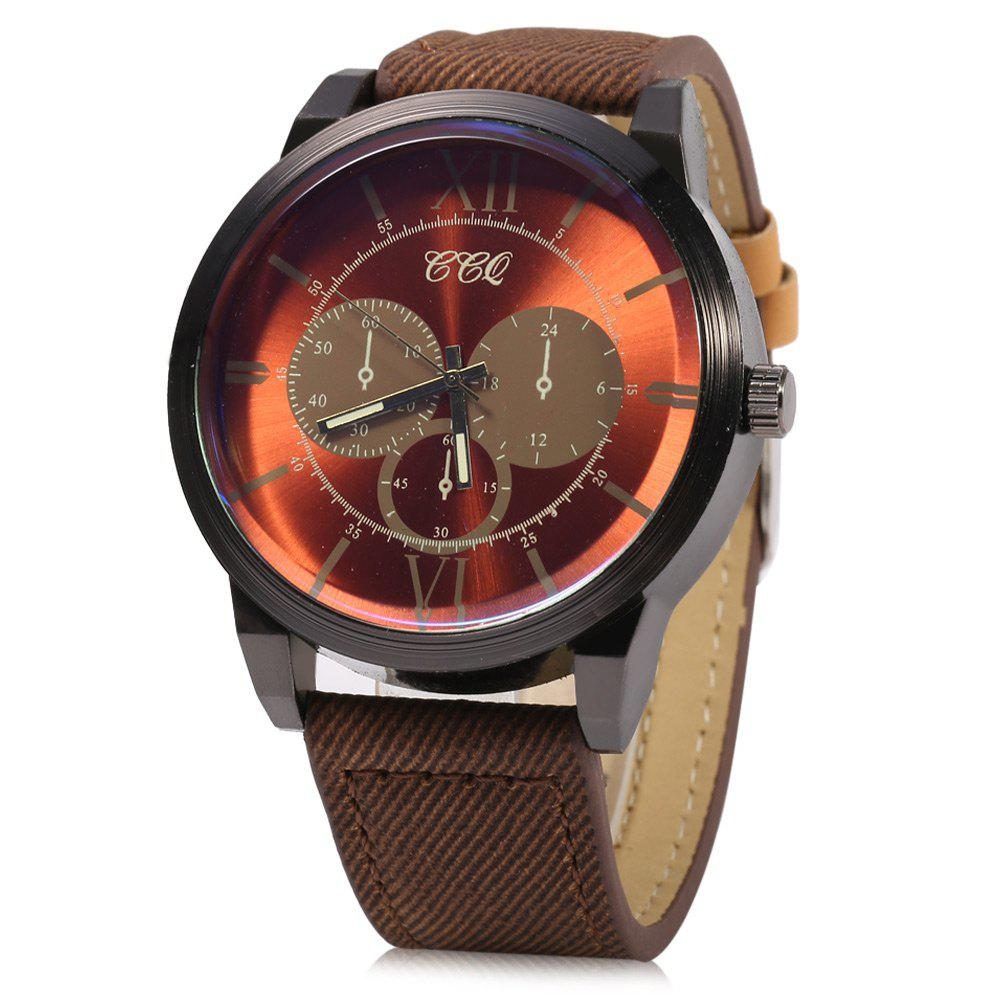 SJ-57 Decorative Sub-dial Business Style Men Quartz Watch - BROWN