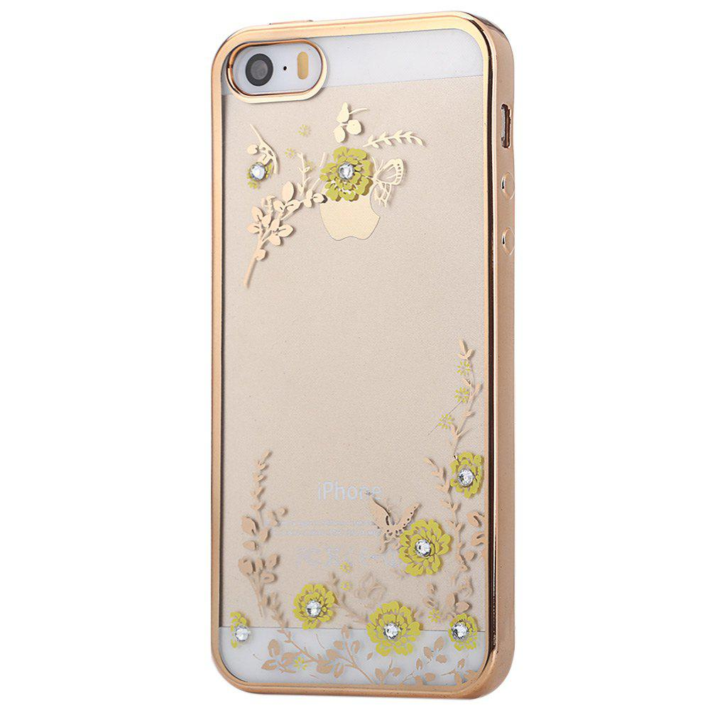 Diamond Style Protective Back Cover Case for iPhone 5 / 5S / SE Ultra-thin TPU Electroplated Edge Design Mobile Protector ultra thin embossed flower pattern protective tpu back case for iphone 5 5s white light pink