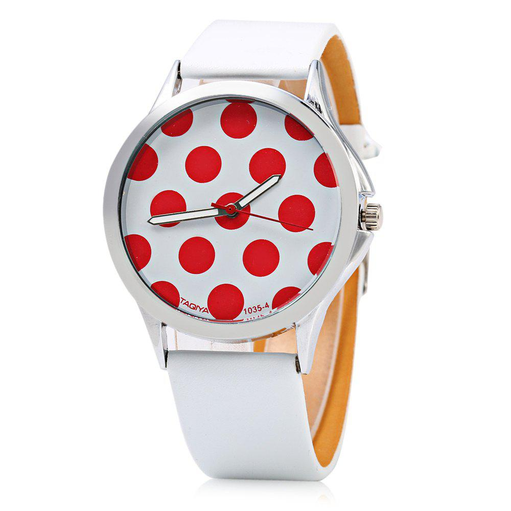 TAQIYA 1035-4 Casual Style Female Quartz Watch with Cute Dot Pattern Dial - RED