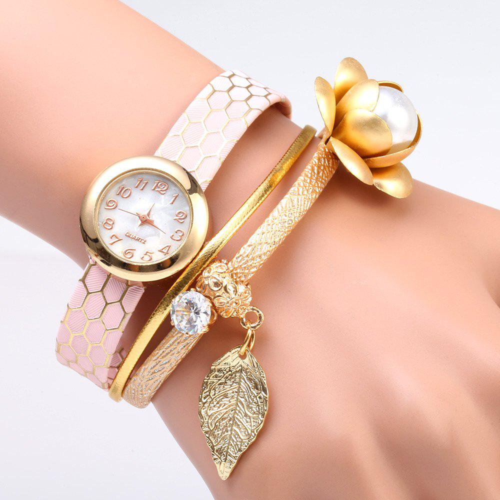 S5-51 Luxury Style Female Quartz Watch Bracelet with Decorative Flower Leaf - PINK