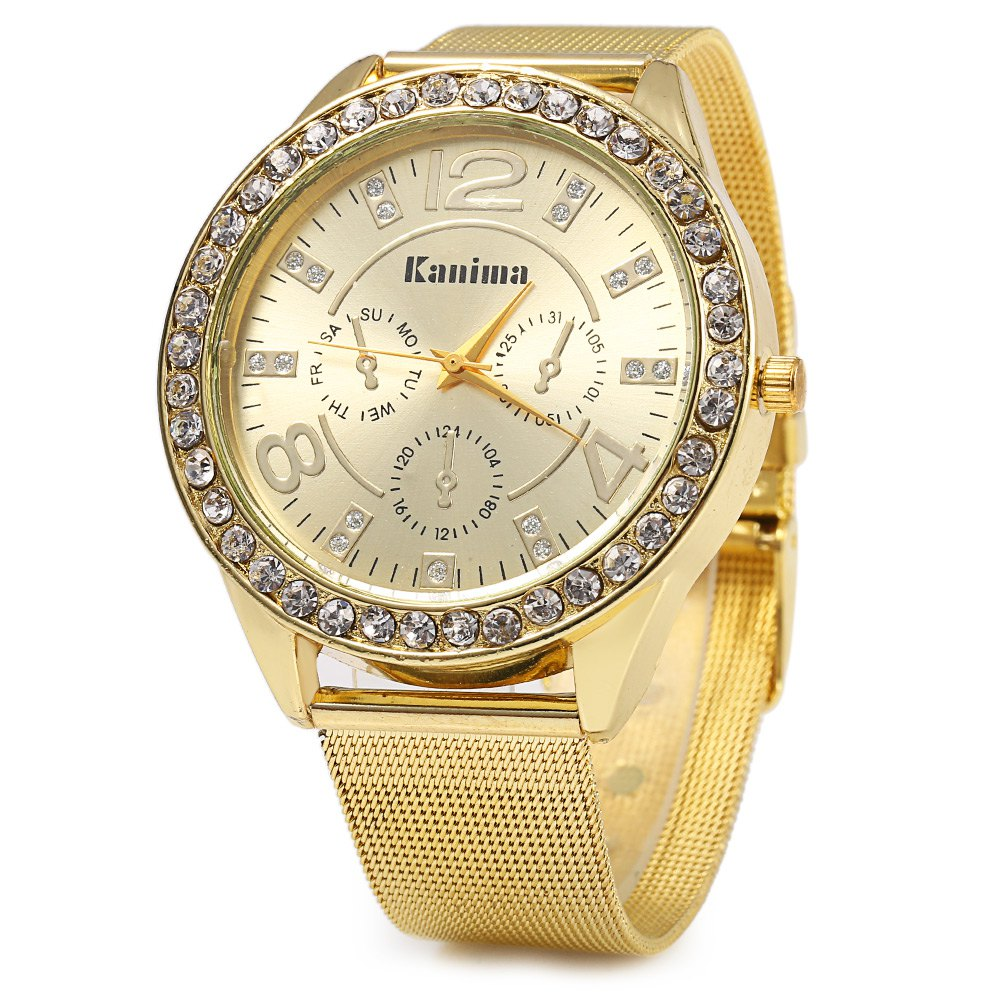 Kanima 079 Business Style Female Quartz Watch with Three Decorative Sub-dials - GOLDEN