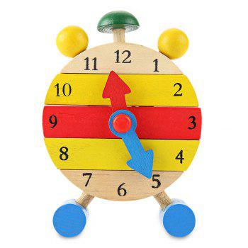 Multiple Color Wooden Building Block Clock Kids Intelligence Toy