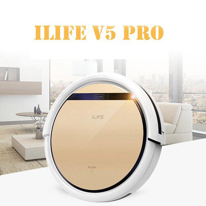 ILIFE V5 Pro Smart Robotic Vacuum Cleaner Cordless 2 in 1 Dry Wet Sweeping Cleaning Machine - CHAMPAGNE GOLD US PLUG