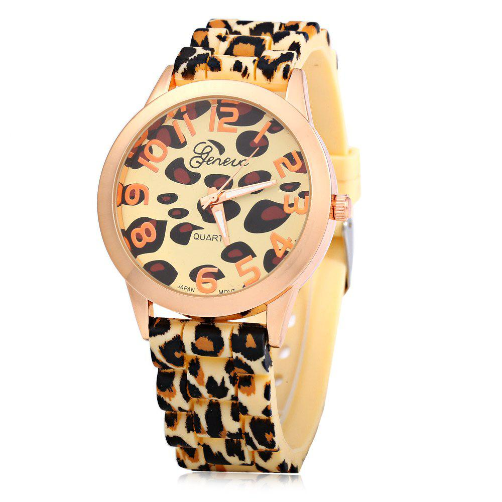 Geneva Watch with 12 Numbers Indicate Round Dial Rubber Band for Women - Golden - GOLDEN
