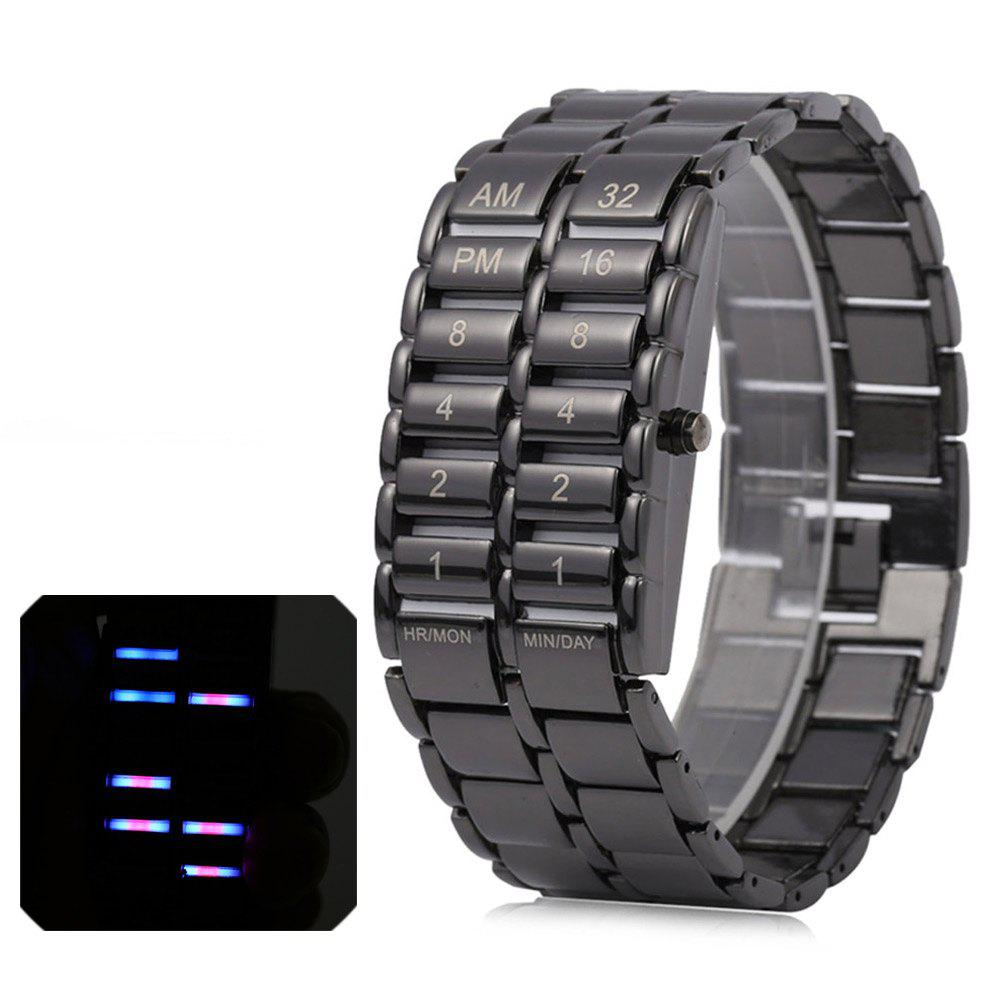 Unique Binary LED Watches Digital Display Time Black Stainless Steel Band